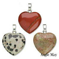 Wholesale Lot 10 Gemstone 20mm Heart Pendants With Bails