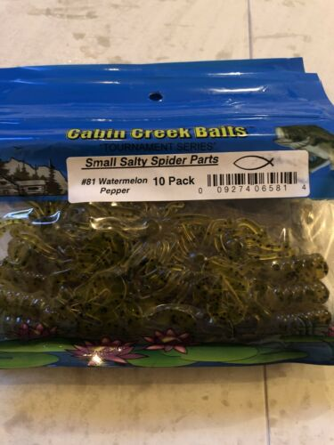 Cabin Creek Baits Small Salty Spider Parts #81 Watermelon Pepper 10pk New