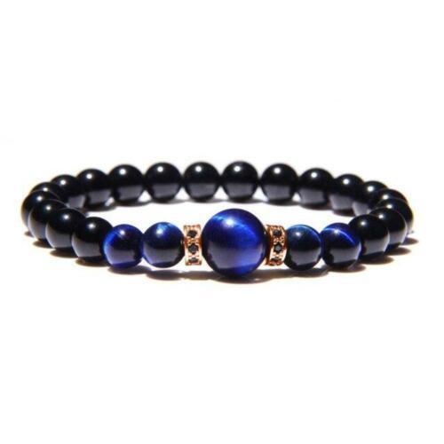 Pulseras De Piedra Natural Moda de Hombre Tigre real Azul los ojos Negro Onyx elasticidad