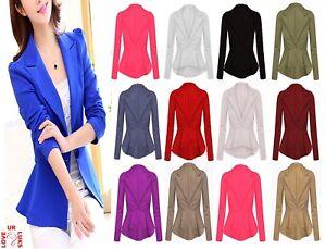 Womens-Ladies-Blazer-Collared-One-Button-Suit-Jacket-Peplum-Slim-Fit-Coat