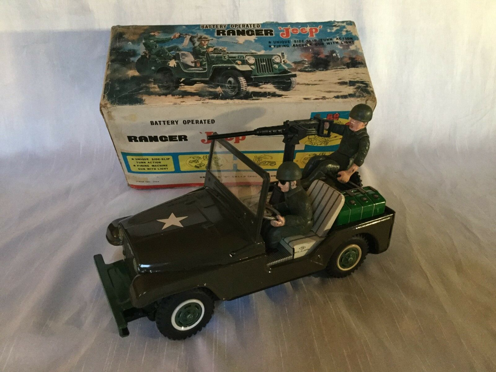 Nomura TN no. 394 Ranger Jeep Army   Military Tin Toy Vintage Rare Boxed