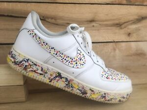 Details about Nike Mens White Custom Paint Splatter Air Force 1 Low 316122 111 Shoes Sz 10