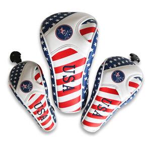 USA-Amerique-Drapeau-Golf-Voile-Head-Cover-pour-Driver-Bois-De-Fairway-Hybride-Putter