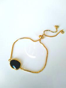 vergoldetes-Armband-verstellbar-Onyx-schwarz-925-Silber-vergoldet