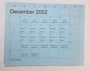 DAWSON-039-S-CREEK-set-used-paperwork-PRODUCTION-CALENDAR-Dec-2002-Jan-2003