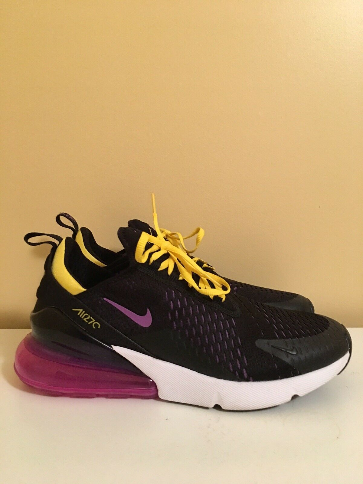 Nike Air Max 270 Hyper Grape Magenta Black Tour Yellow Purple With Box sz 11