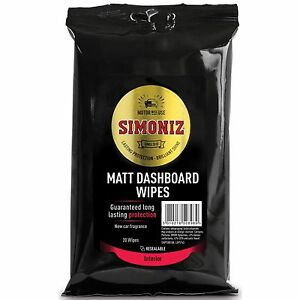 simoniz car interior dashboard new car scent cleaning wipes pack of 20 matt ebay. Black Bedroom Furniture Sets. Home Design Ideas