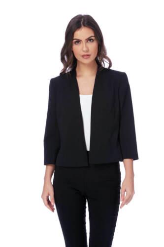 Roman Originals Women/'s Black Edge to Edge Crepe Jacket Sizes 10-20