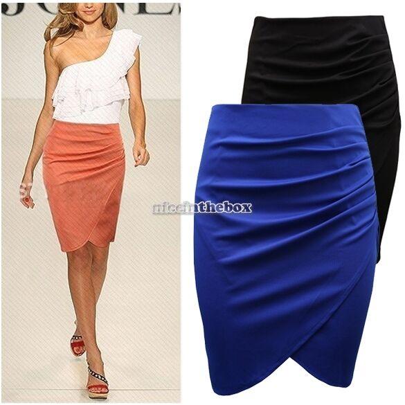 Womens Office Work Pencil Ladies Knee Long Stretch Bodycon Mini Skirt N98B