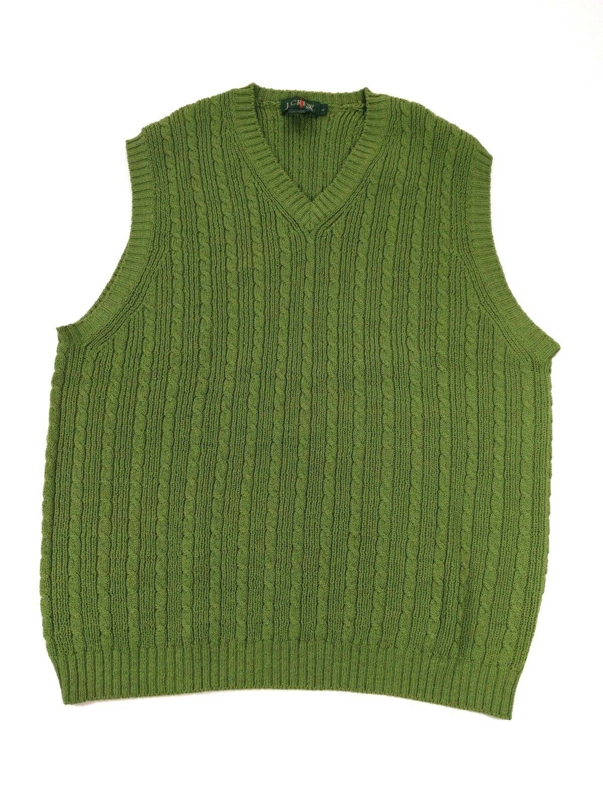 J. Crew Men's Green Wool Blend Cable Knit Sweater Vest Large