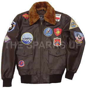 Top Gun Men/'s JET BOMBER Navy Air Force Pilota Giacca in Pelle-Grande Vendita