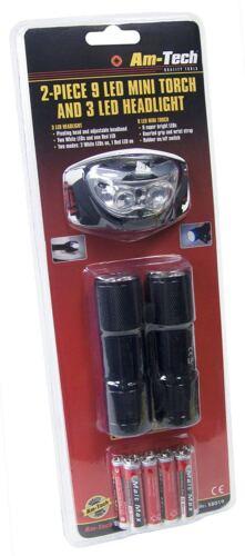 2 Pièce DEL Mini Torche et phare Set Serre-Tête Camping Randonnée mécanicien S8019
