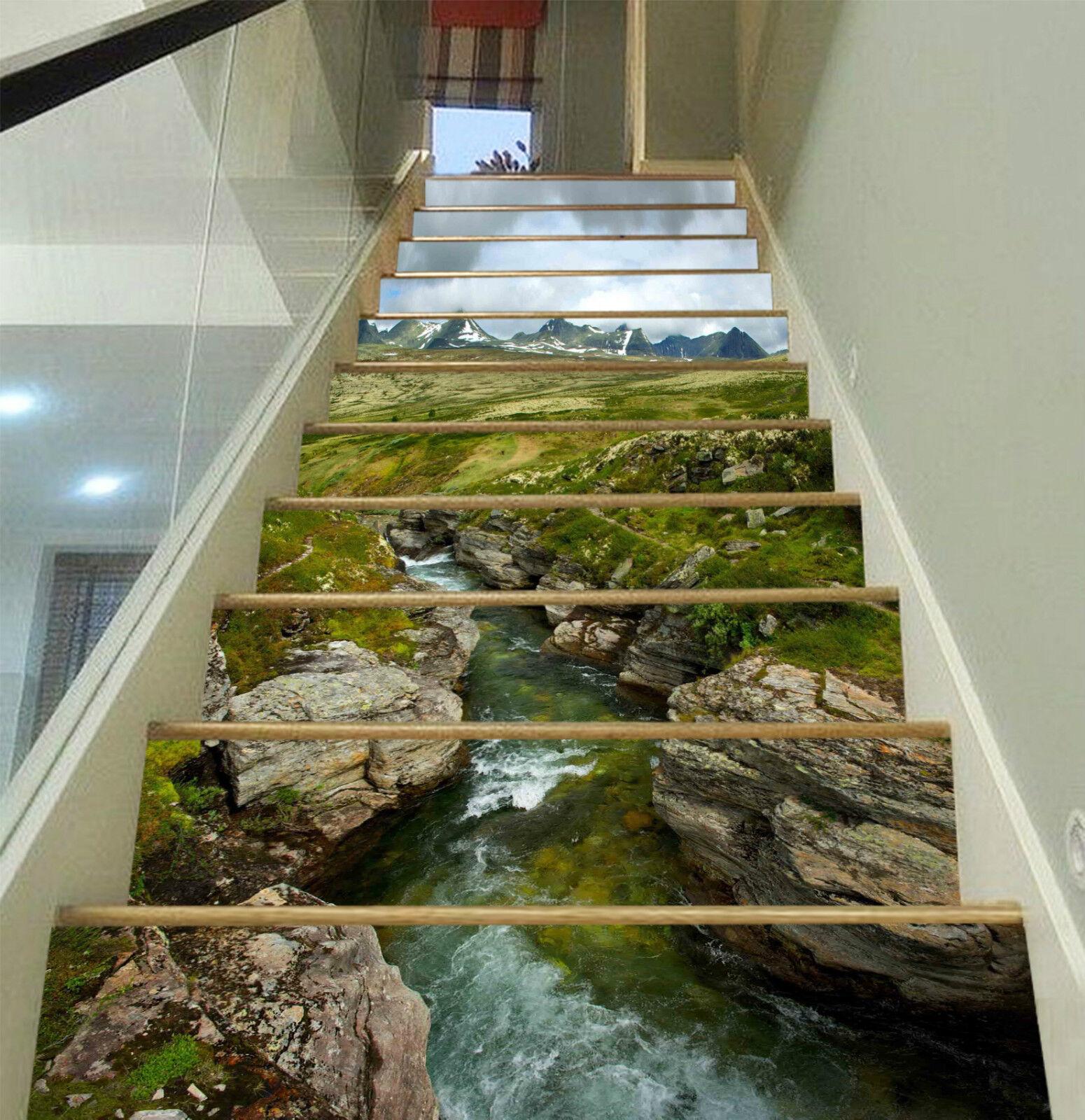 3D Gully Bach 323 Stair Risers Dekoration Fototapete Vinyl Aufkleber Tapete DE