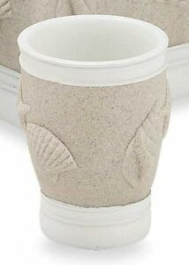 Sand Sea Shells Tumbler Bath Cup Modern Rustic Resin Bathroom Brush Gargle Fun