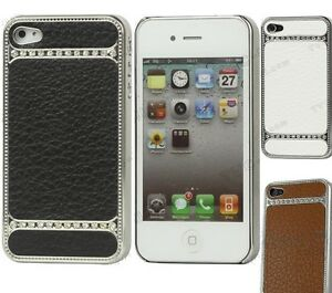 Leather-Chrome-Bling-Diamond-Rhinestone-case-for-Apple-iPhone-4-and-iPhone-4S