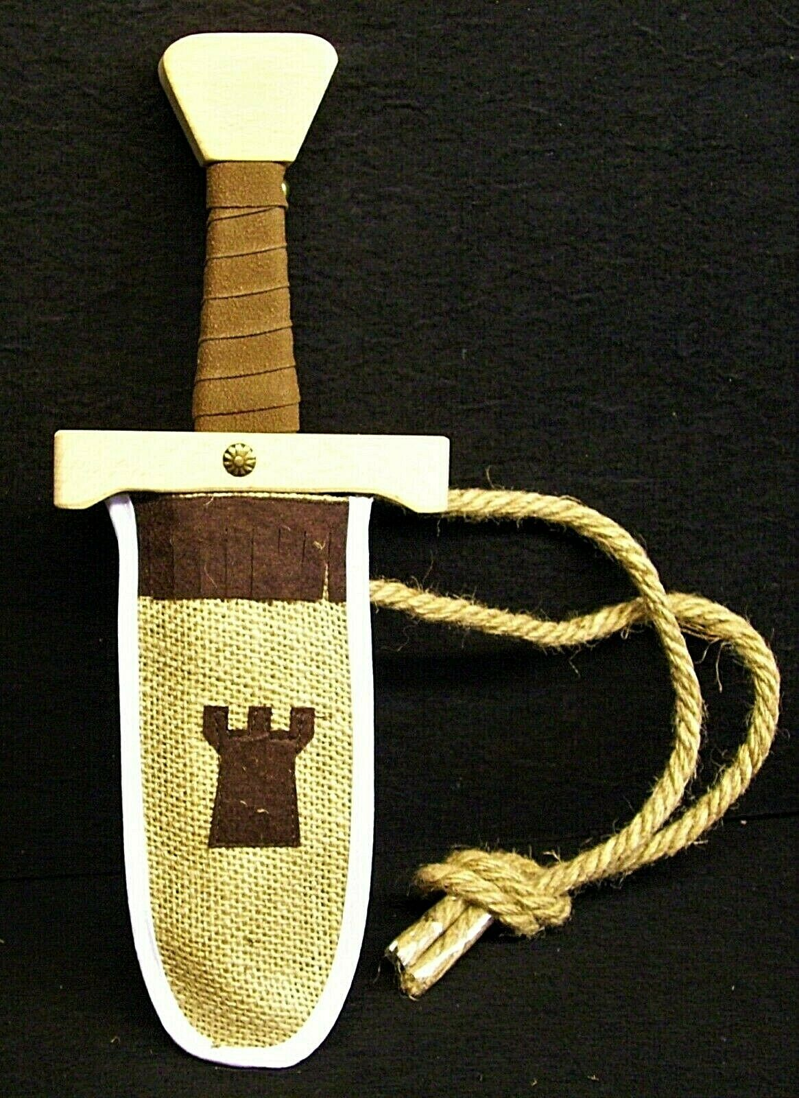 Dagger or short sword with sheath. Beech, leather bound handle.LARP