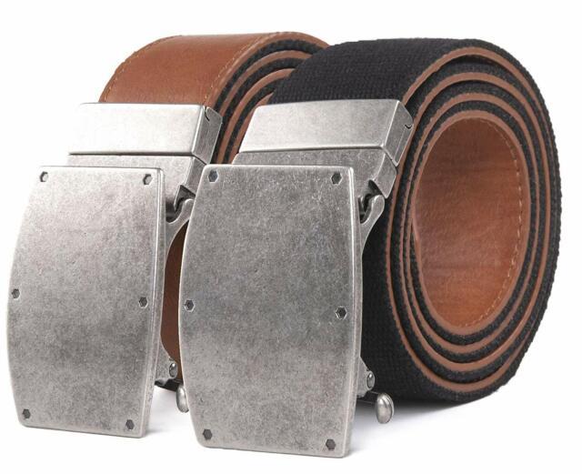 "Hagora Men 1.5/"" Wide Retro Genuine Leather No Slot Holes /& Buckle Belt Strap"