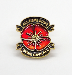 Red Flower Lest We Forget War Navy Military Veteran Soldier Pin Badge Brooch