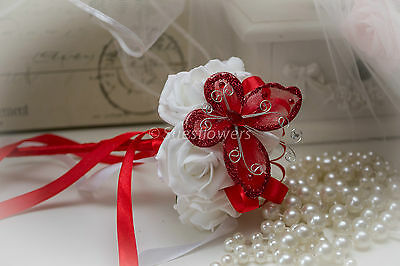 Wedding Flowers BRIDESMAID WAND IN RED AND WHITE