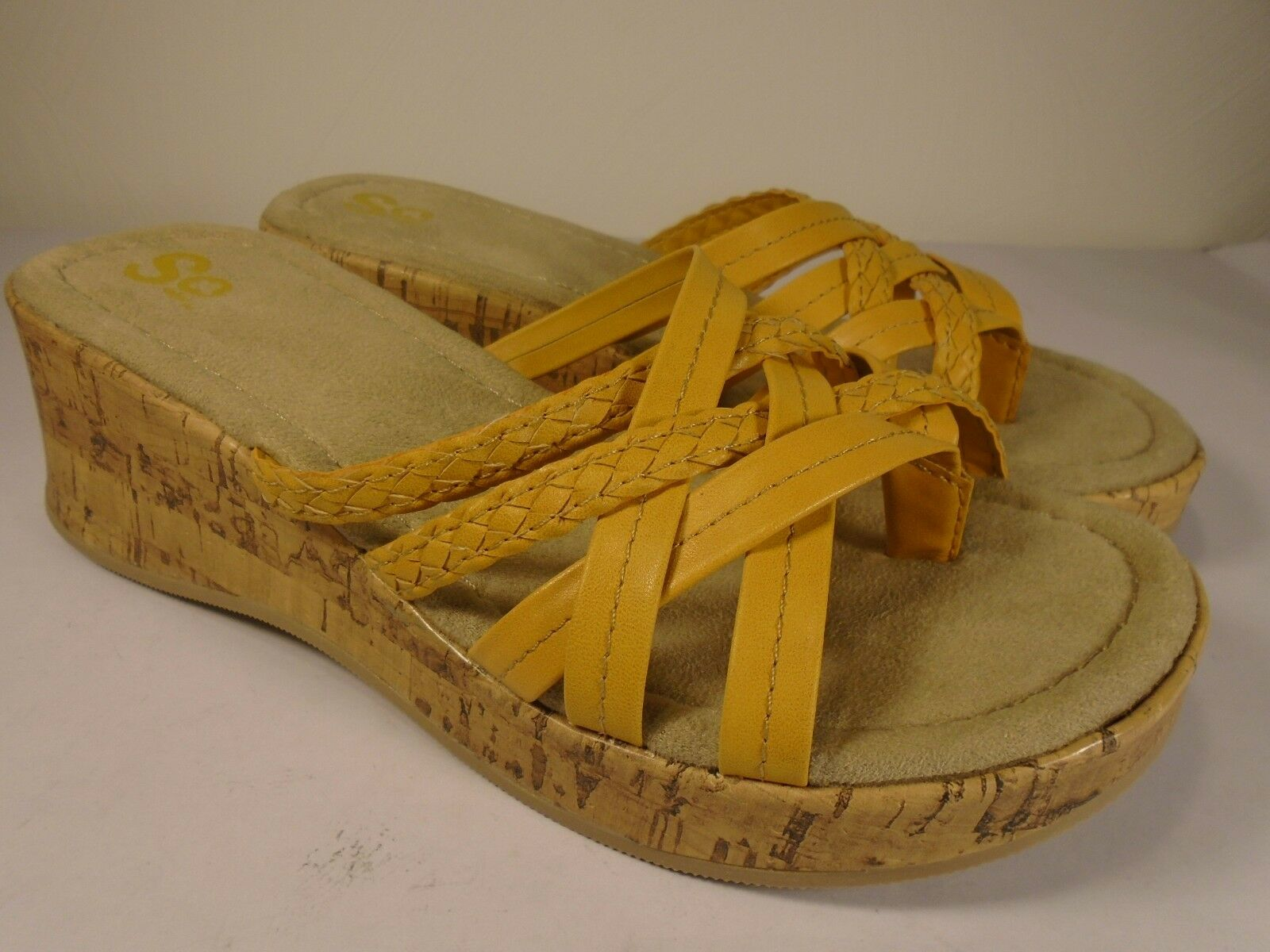 Brand New SO Sandals Size 6.5 Cork Tan Inch Yellow Thong Backless 2 Inch Tan Heel Soft c6a6e0