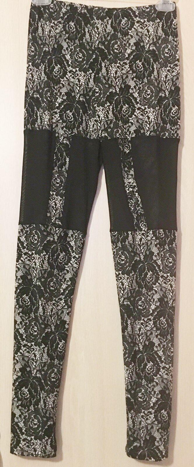 AKIRA Floral Lace Print Motif Design Sheer Mesh Insert Stretch Pants Leggings S