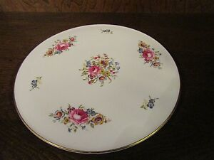Image is loading Royal-Worcester-Cake-Plate-Fine-Bone-China-Gold- & Royal Worcester Cake Plate Fine Bone China Gold Trim Floral Made In ...