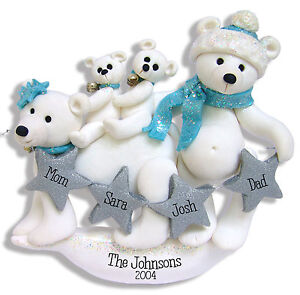 image is loading polar bear family family 4 handmade polymer clay - Polar Bear Christmas Decorations
