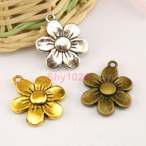 5Pcs Tibetan Silver,Antiqued Gold,Bronze Flower Charms Pendants M1456