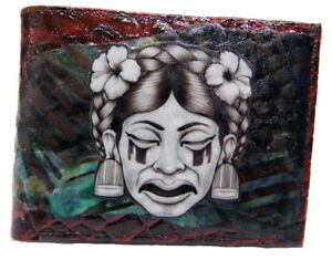 De-La-Luna-Mayan-Art-Leather-Wallet-Red-Mayan-Princess-Mens-Wallet