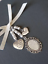 Bridal wedding bouquet charm silver oval photo locket with always and dad charms