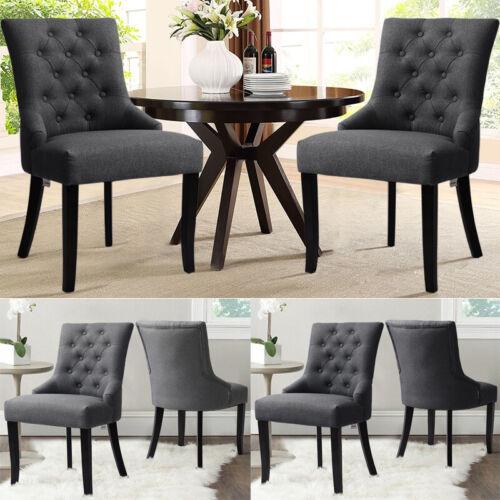 Modern 2Pcs Home Living Room Dinning Chair Button Back Padded Chair w/Wooden Leg 2x Dark Grey Button Armchair,2x Light Grey Button Armchair