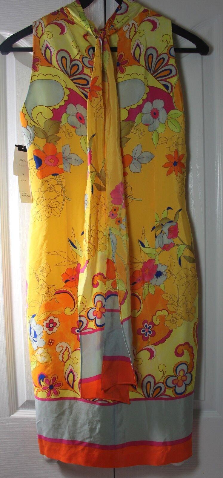 Maggy London damen's Größe 4 Gelb Silk Flower Sleeveless Dress NWT Groovy