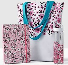 Starbucks 2017 CHERRY BLOSSOMS Out and About Set (tote bag, notebook,gl bottle)