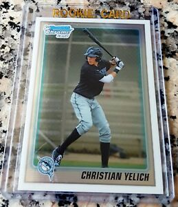 CHRISTIAN-YELICH-2010-Bowman-CHROME-1-Draft-Pick-Rookie-Card-RC-Brewers-HOT