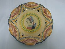 RARE SIGNED HENRIOT QUIMPER FAIENCE CORBEILLE ROSE DINNER PLATE PORTRAIT of LADY