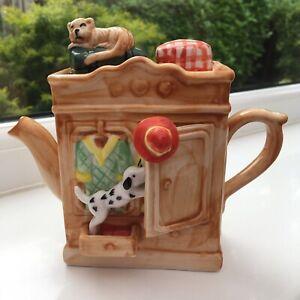 Vintage-Ornamental-Tea-Pot-Ceramic-Cat-amp-Dog-14x16-Cm-Ornament