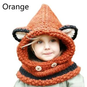 d8a9dacee5d Baby Kids Warm Fox Animal Hats Knitted Caps Coif Hood Scarf Beanies ...