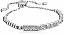 Michael Kors MKJ5593040 Silver Tone Plaque Adjustable Beaded Bracelet Jewelry