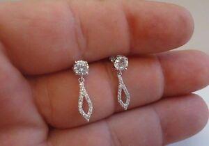 925-STERLING-SILVER-LADIES-DANGLING-STUD-EARRINGS-W-1-50-CT-DIAMONDS-STUNNING