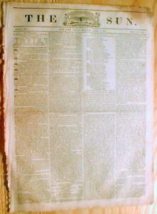 Original-1835-NEW-YORK-SUN-newspaper-1st-penny-paper-BENJAMIN-DAY-printer