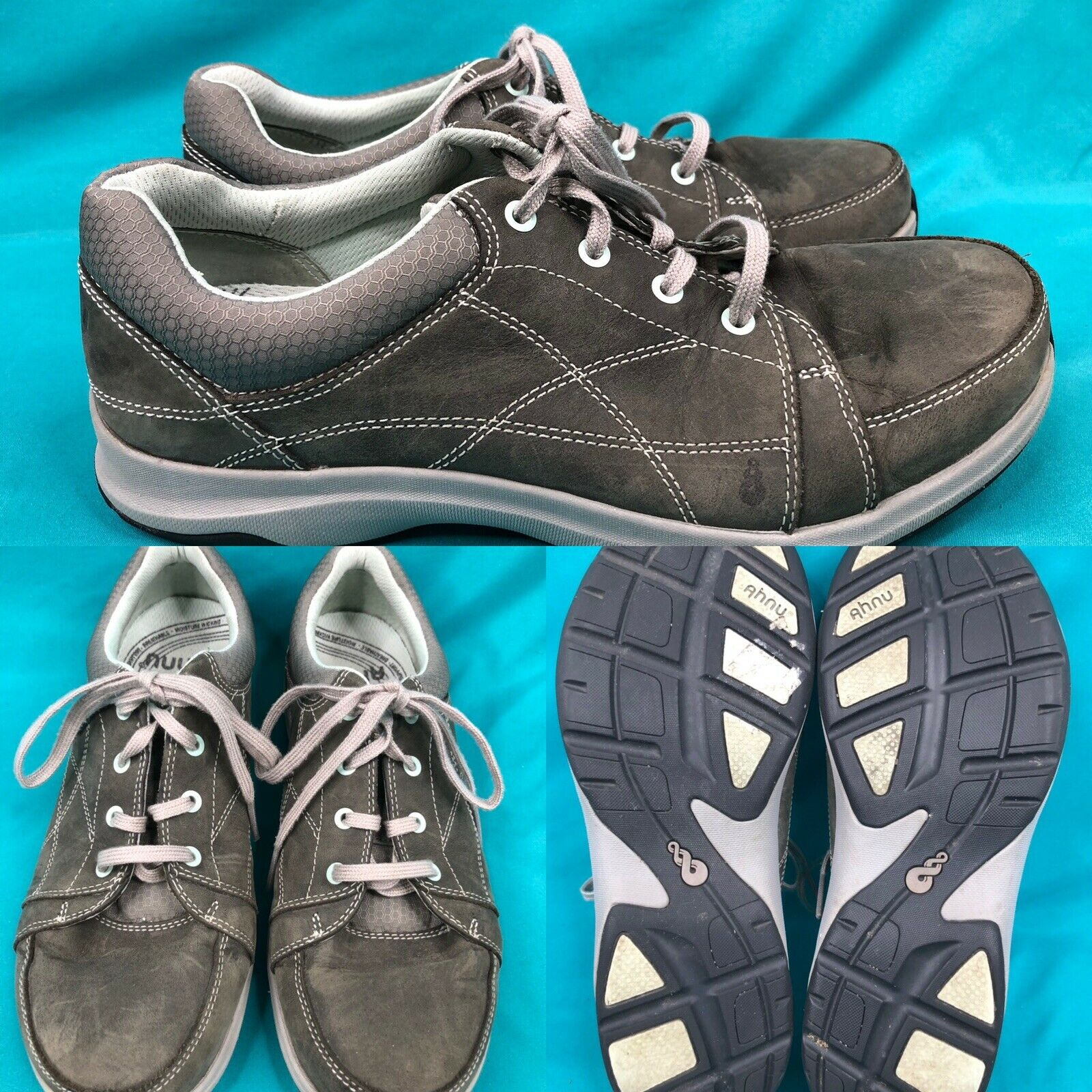 Gray Leather Walking Shoes