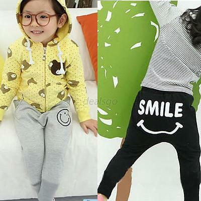 Toddler Girls Smile Pattern Harem Pants Casual Cotton Trousers Bottoms 1-6Y DED