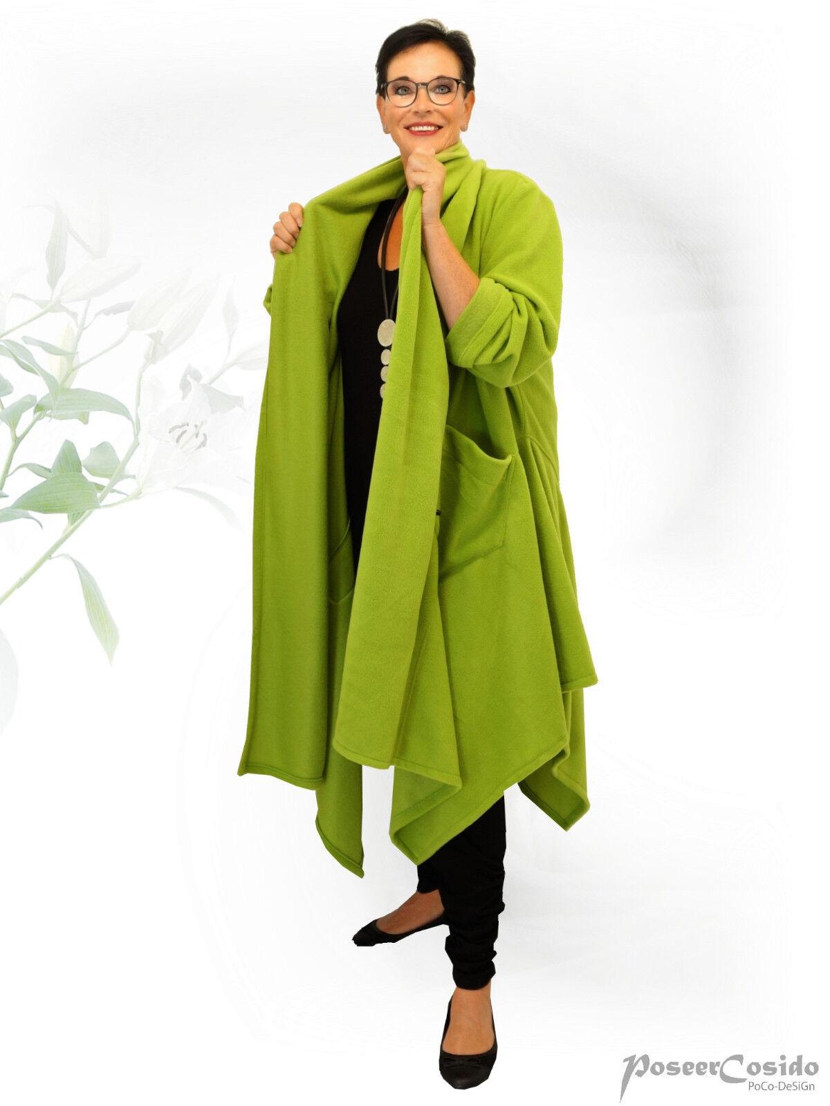 PoCo DeSiGn LAGENLOOK Strick-Jacke Kurz-Mantel grün schwarz  L-XL-XXL-XXXL />4XL