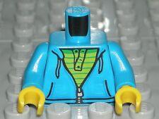 LEGO CITY MINIFIGURE TORSO Dark Azure Hooded Zipper Sweatshirt 60134