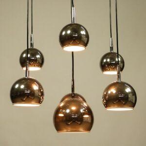 Riesige-Chrom-Kugel-Kaskaden-Leuchte-7fach-Haenge-Lampe-Vintage-Pendant-70er-VTG