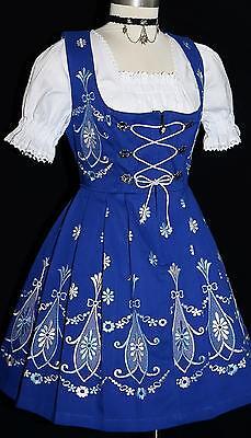 3 Pcs SHORT BLUE German Swing Garden Sun Oktoberfest Waitress DIRNDL Party Dress