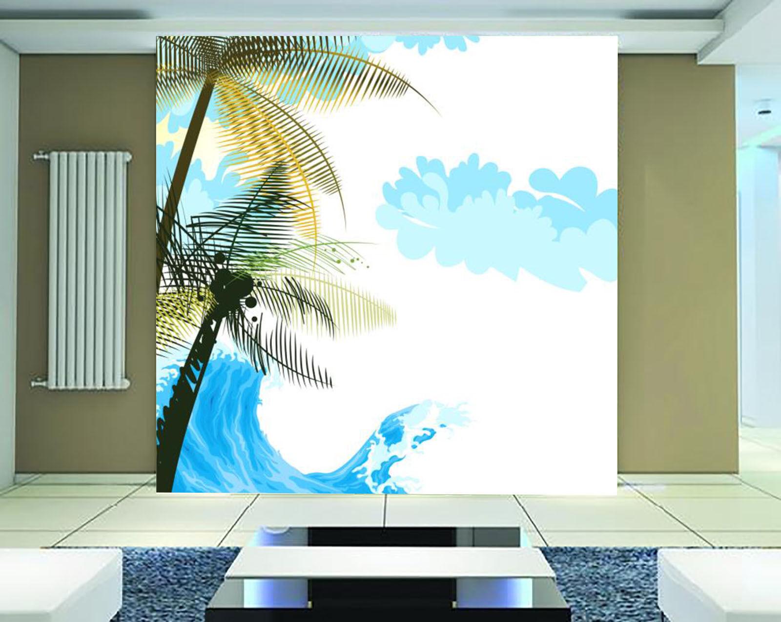 3D Wellen, Bäume 78 Fototapeten Wandbild Fototapete BildTapete Familie