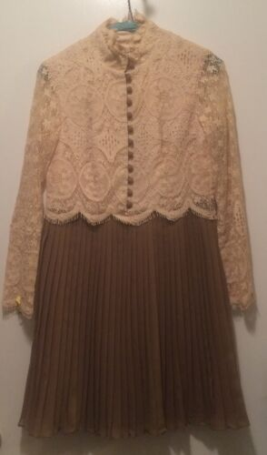 Vintage Beige Lace/Chocolate Chiffon Pleated Skirt