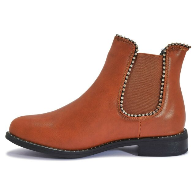 Low Heel Ankle Boot in Brown Size UK