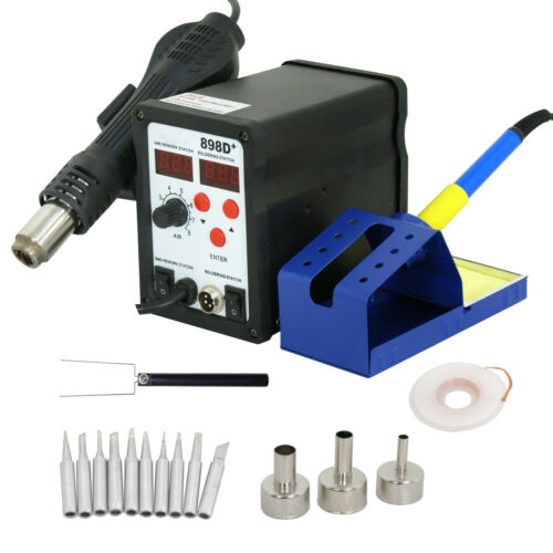 898d 110v SMD Electric Soldering Station Solder Iron Welding Kit W// 11 Tips